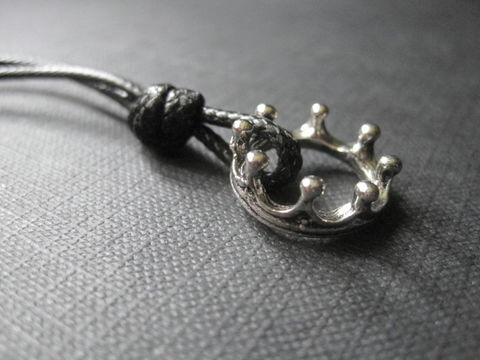 Crown,Unisex,Cord,Necklace,King,and,Queen,Crown Unisex Cord Necklace King and Queen, crown, royalty, victorian queen, handmade jewelry, king of the world, antique silver crown