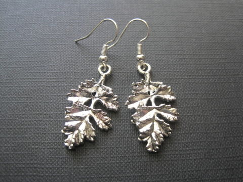 Big,Oak,Leaf,Dangle,Earrings,Big Oak Leaf Dangle Earrings, nature jewelry, leaf earrings, leaf, oak, antique silver, handmade jewelry