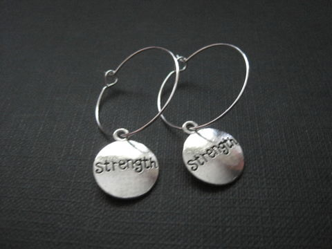 Strength,Hoop,Earrings,Strength Hoop Earrings, silver plated hoop, handmade earrings, inspirational jewelry, positive energy jewelry