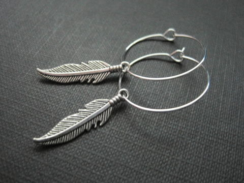 Feather,Hoop,Earrings,Feather Hoop Earrings, silver plated hoop, handmade earrings, antique silver feather