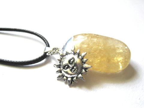 Citrine,Sun,Cord,Necklace,Citrine Sun Cord Necklace, handmade jewelry, witch jewelry, mystic, crystal,  yellow, sun, antique silver, prosperity, crystal healing