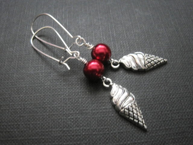 Ice Cream Cone Red Pearl Dangle Earrings  - product images  of