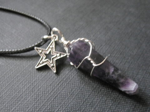 Amethyst,Star,Cord,Necklace,Amethyst Star Cord Necklace, handmade jewelry, halloween, jewelry, wire wrapped jewelry, healing crystal necklace