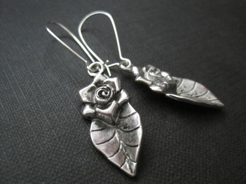 Rose,Leaf,Dangle,Earrings,Rose Leaf Dangle Earrings, handmade jewelry, nature jewelry, rose, leaf, silver plated