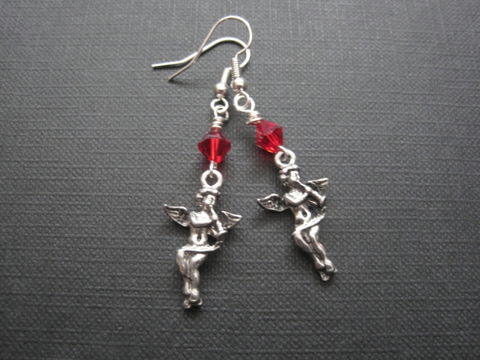 3-D,Cherub,Angel,Dangle,Earrings,3-D Cherub Angel Dangle Earrings, angel jewelry, cupid, cherub angel, handmade earrings, religious jewelry, angel wings, antique silver