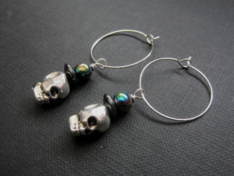 3-D,Skull,Goth,Hoop,Earrings,3-D Skull Goth Hoop Earrings, silver plated, hoops, goth jewelry witch jewelry, mystic jewelry, handmade jewelry, hoop earrings, halloween jewelry