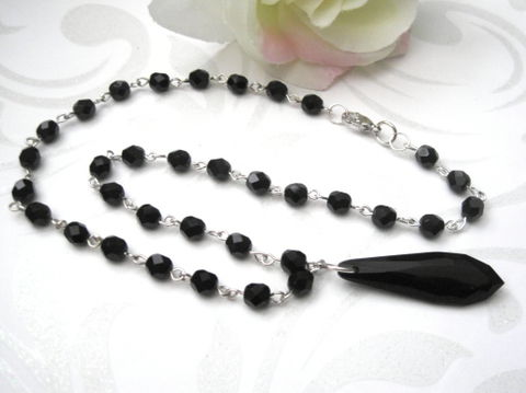 Victorian,Mourning,Necklace,Jet,Black,Faceted,Beads,Victorian Mourning Necklace Jet Black Faceted Beads