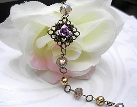 Antique,Gold,Filigree,Lavender,Rose,Crystal,Bracelet,Antique Gold Filigree Lavender Rose Crystal Bracelet