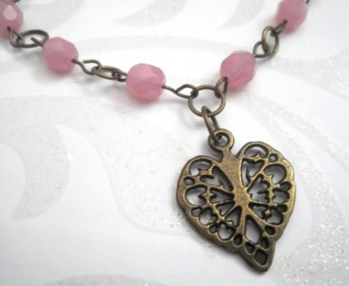 Antique Brass Heart Pink Glass Bracelet Vintage Inspired - product images  of