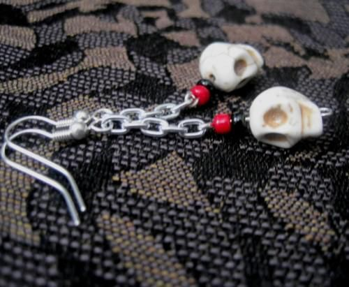 White Howlite Magnesite Skull Chain Dangle Earrings Gothic - product images  of