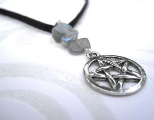 Labradorite Pentacle Charm Choker Pentagram Necklace - product images  of