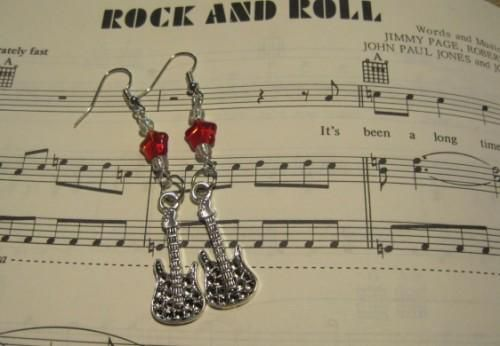 Rock Guitar Red Star Dangle Earrings - product images  of