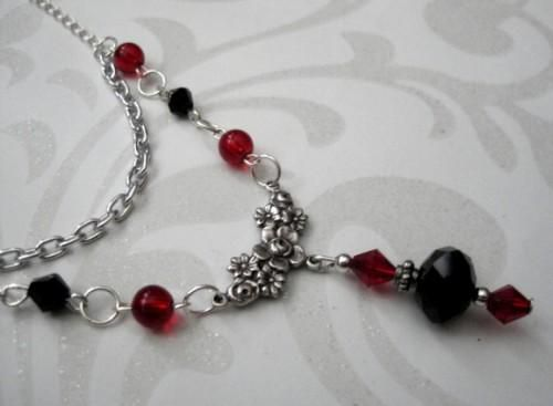 Gothic Victorian Black and Red Multi Layered Necklace - product images  of