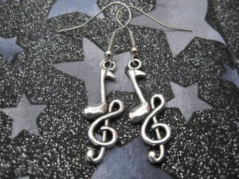 Music,Note,Rock,Earrings,Music Note Rock Earrings, unisex jewelry, music jewelry, music note earrings, handmade