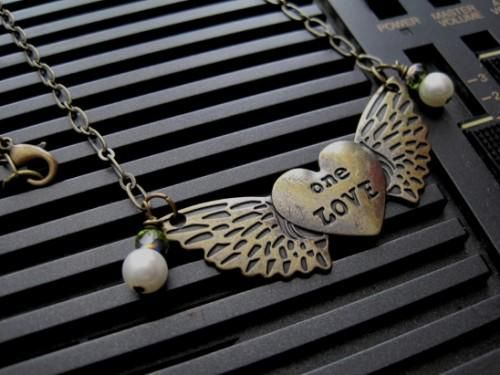 Heart With Wings Love Necklace Pearls Antique Brass Metal - product images  of
