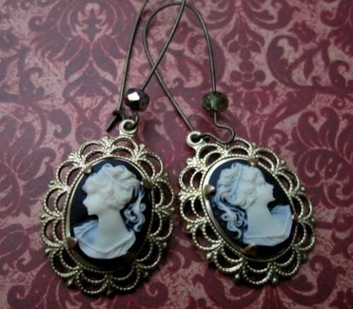 Victorian Cameo Dangle Earrings, Romantic Vintage Style - product images  of