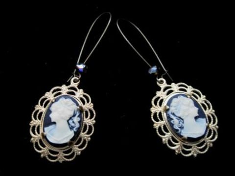 Victorian,Cameo,Dangle,Earrings,,Romantic,Vintage,Style,cameo dangle earrings, lady cameo earrings, victorian cameo earrings, antique gold, handmade