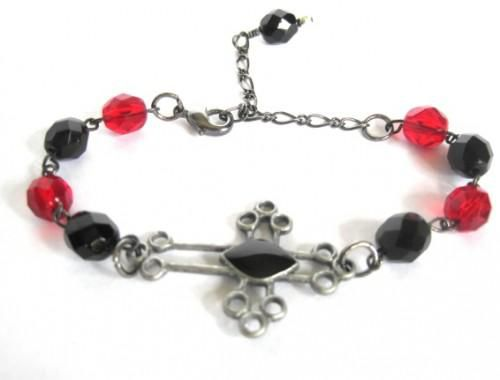 Gothic Cross Gunmetal Bracelet Black Red Glass - product images  of