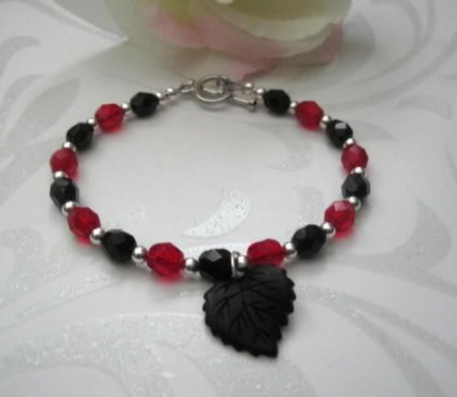 Black Leaf Gothic Bracelet, Red and Black Czech Glass - product images  of