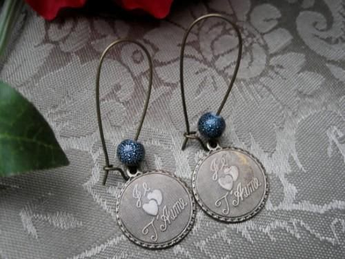 Je Taime Antique Brass Love Dangle Earrings, Vintage Look - product images  of