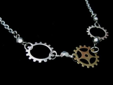 Steampunk,Gears,Industrial,Necklace,Steampunk Gears Industrial Necklace, handmade necklace, steampunk