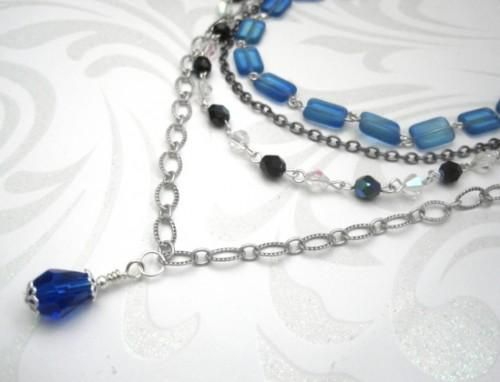 Blue Multi Strand Romantic Vintage Inspired Necklace - product images  of