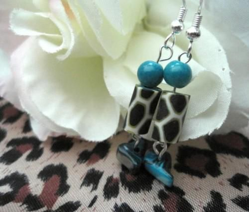 Animal Print Turquoise Abalone Dangle Earrings - product images  of