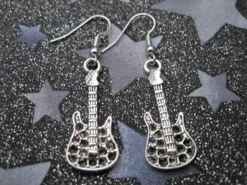 Rock,Guitar,Earrings,Rock Guitar Earrings, handmade, music earrings, guitar earrings, unisex jewelry
