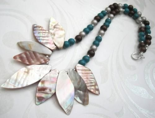 Mother of Pearl Shell Necklace, Teal Brown Pearl Glass Beads - product images  of