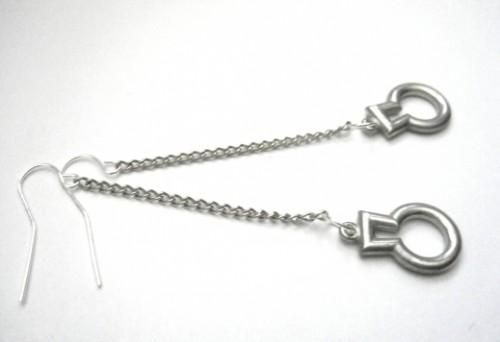 Key Peephole Dangle Chain Earrings - product images  of