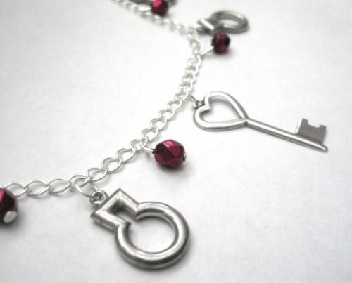 Peephole Door Key Charm Necklace Alice in Wonderland - product images  of