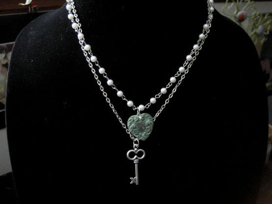 Multi Strand Pearl Heart Key Necklace - product images  of