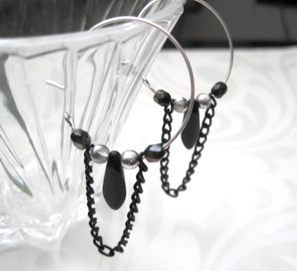 Sterling Silver Filled Hoops Black Chain Dangle Earrings - product images  of