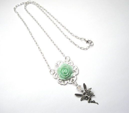 Filigree Mint Rose Fairy Silver Necklace  - product images  of