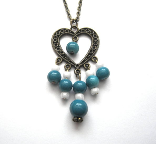 Antique Gold Heart Teal Chandelier Necklace - product images  of