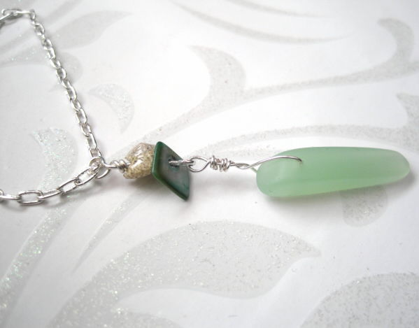 Green Sea Glass Pendant Necklace - product images  of