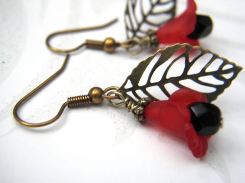 Filigree,Brass,Leaf,Red,Flower,Dangle,Earrings,filigree, brass, leaf, red, flower, lily, dangle earrings, filigree earrings, flower earrings, handmade, layered earrings, vamps jewelry