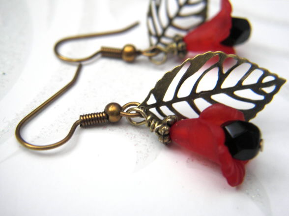 Filigree Brass Leaf Red Flower Dangle Earrings - product images  of