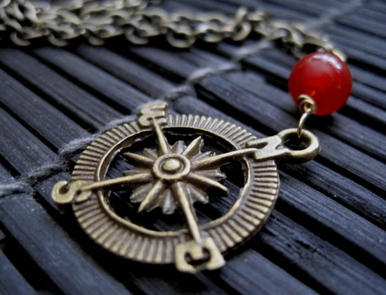 Brass Compass Red Agate Nautical Necklace - product images  of