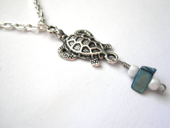 Sea Turtle Sea Life Necklace Antique Silver Abalone Chip - product images  of