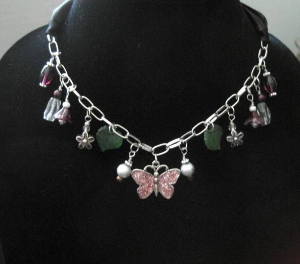 Nocturnal Butterfly Chunky Charm Leaf Flower Ribbon Necklace - product images  of