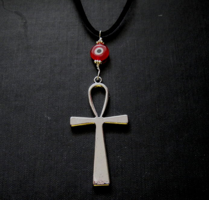 Ankh Cross Red Evil Eye Gothic Cord Necklace - product images  of