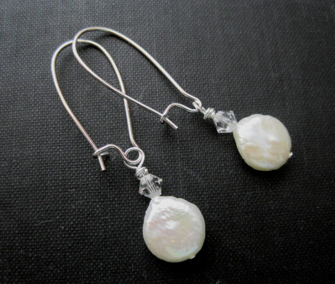 White Cultured Pearl Coin Shape Dangle Earrings - product images  of