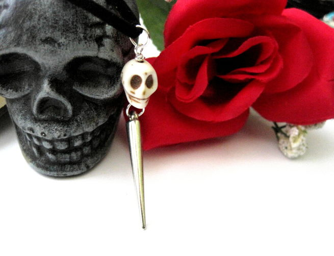 Gothic Howlite Skull Spike Suede Necklace - product images  of