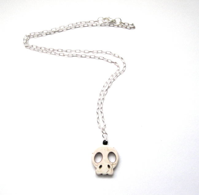 White Howlite Big Skull Necklace, Gothic Punk Skull - product images  of