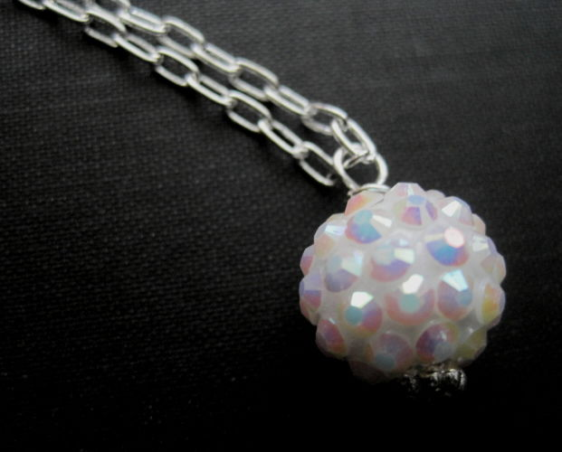 Snowball Pave Necklace White Disco Ball Bling Necklace - product images  of