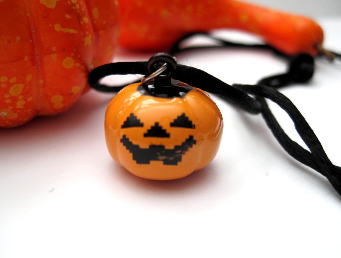 Pumpkin Jack o' Lantern Necklace, Pumpkin Bell Necklace - product images  of