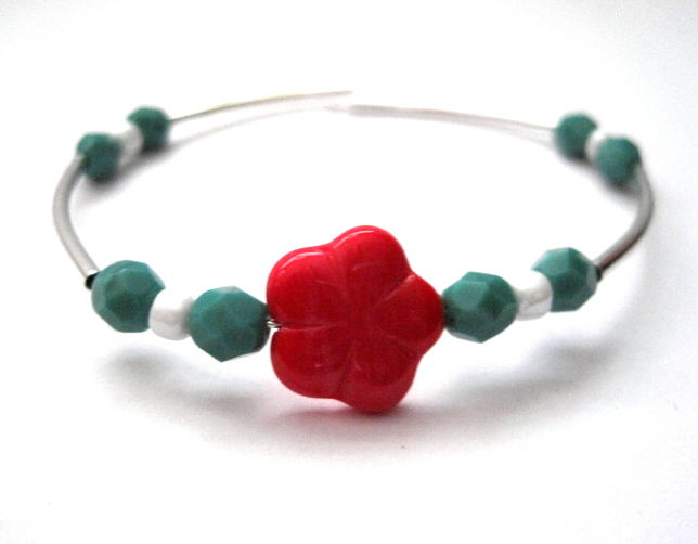 Red Flower Turquoise Memory Wire Bracelet, Cuff Style Bracelet - product images  of