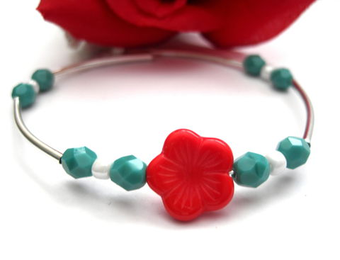 Red,Flower,Turquoise,Memory,Wire,Bracelet,,Cuff,Style,Bracelet,flower bracelet, red, turquoise, memory wire bracelet, cuff bracelet, red flower bracelet, vamps jewelry, white, silver, pearl
