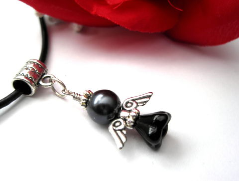 Gothic,Dark,Angel,Leather,Necklace,,Mourning,Choker,gothic, victorian angel, angel, choker, leather necklace, dark angel necklace, mourning angel necklace, vamps jewelry, dark pearl, black, antique silver, black leather